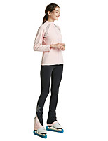 cheap -Figure Skating Jacket with Pants All Ice Skating Tracksuit Pink Spandex High Elasticity Training Skating Wear Solid Colored Crystal / Rhinestone Long Sleeve Ice Skating Figure Skating / Kids