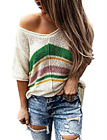cheap -women's v neck short sleeve knit tee t-shirts casual loose striped shirts with slits beige x-large 16 18