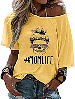 cheap -women's mom life shirt funny graphic skull leopard print sunglasses off shoulder bat sleeve t-shirt yellow