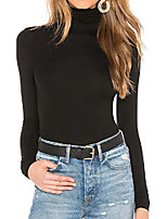 cheap -turtleneck women long sleeve mock turtleneck pullover stretch slim t shirt layer top (xl, black)