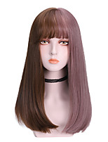 cheap -Synthetic Wig Straight With Ponytail Wig Medium Length Brown Black Synthetic Hair 16 inch Women's Cool Ombre Hair Black Brown