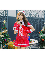 cheap -Santa Suit Costume Adults' Women's Christmas Christmas Festival Christmas Halloween Festival / Holiday Polyester Velour Red Women's Easy Carnival Costumes Solid Color / Dress / Shawl / Hat / Neckwear