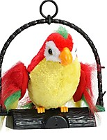 cheap -repeat talking parrot toys for birthday plush doll toys for boys girls (red & green)