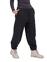 cheap -womens fall cotton linen pants elastic waist loose casual pants lantern cropped tapered trousers with pockets