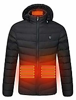 cheap -men's warm cotton clothes smart usb abdomen back neck four electric heating coat black