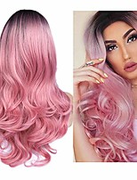 cheap -ombre pink wigs none lace long natural wavy dark roots pink wig for women 2 tone black to pink wavy wigs for women synthetic heat resistant party wigs natural looking cosplay wig