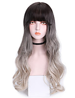 cheap -Synthetic Wig Body Wave With Bangs Wig Long Grey Synthetic Hair 24 inch Women's Cool Color Gradient Gray