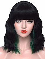 cheap -black green wigs for women 13'' short curly wavy bob hair wig with bangs fashion cute wigs for party cosplay halloween s046gn