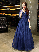 cheap -A-Line Beautiful Back Sexy Prom Formal Evening Dress V Neck Half Sleeve Floor Length Lace with Beading 2020