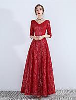 cheap -A-Line Elegant Glittering Wedding Guest Formal Evening Dress V Neck Half Sleeve Floor Length Sequined with Sequin 2020
