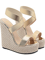cheap -Women's Sandals Wedge Heel Peep Toe Minimalism Daily PU Solid Colored Gold