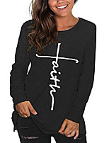 cheap -plus size faith tshirts women graphic tee letter print christian shirts jesus tunic tops