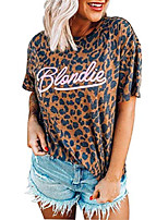 cheap -women blondie shirt funny autoamerican band music theme shirt sexy leopard print o-neck short sleeve animal pattern tees (l, leopard printed)