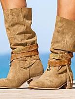 cheap -Women's Boots Chunky Heel Round Toe Daily PU Light Brown