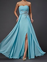 cheap -Sheath / Column Elegant Minimalist Wedding Guest Formal Evening Dress Strapless Sleeveless Floor Length Chiffon with Split Appliques 2020