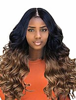 cheap -big curly wavy supreme free parting wigshigh temperature synthetic wigs for black women ombre color (brown)