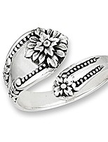 cheap -victorian flower open spoon ring vintage new 925 sterling silver band size 7