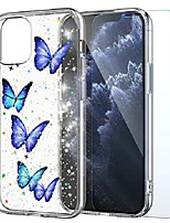cheap -compatible with iphone 12/12 pro case butterfly with glass screen protector,glitter sparkle blue butterflies design cover,tpu bumper women girls for iphone12,iphone12 pro 6.1 inch 2020 (clear)