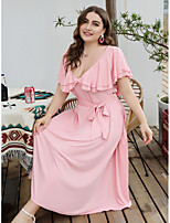 cheap -Women's Swing Dress Midi Dress - Short Sleeve Solid Color Lace up Ruffle Bow Spring Fall V Neck Plus Size Casual Loose 2020 Blushing Pink XL XXL 3XL 4XL / Maxi