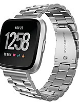 cheap -compatible with fitbit versa bands, stainless steel metal replacement bracelet strap band for fitbit versa sports smart watch fitness (silver)