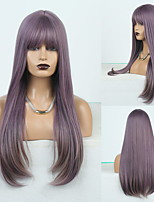 cheap -Cosplay Costume Wig Synthetic Wig Natural Straight Middle Part Neat Bang Wig Long Blonde / Purple Synthetic Hair Women's Odor Free Fashionable Design Soft Purple / Heat Resistant