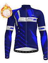cheap -21Grams Men's Long Sleeve Cycling Jacket Winter Fleece Polyester Yellow Blue Orange Bike Jacket Top Mountain Bike MTB Road Bike Cycling Thermal Warm Fleece Lining Breathable Sports Clothing Apparel