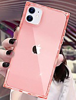 cheap -compatible with iphone 11 clear case square cute crystal soft phone case silicone gel design tpu transparent slim shell full protection cover compatible with iphone 11 2019 6.1 inch (pink)