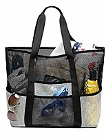 cheap -beach mesh tote bags heavy duty bag with pockets travel totes for women men handles oversized carry toy totes durable shopping groceries (white)