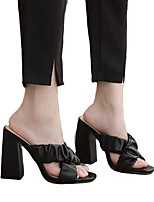 cheap -Women's Sandals Chunky Heel Open Toe Classic Daily PU Solid Colored Almond White Black