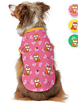 cheap -Dog Shirt / T-Shirt Animal Printed Animals Casual / Daily Dog Clothes Puppy Clothes Dog Outfits Breathable Yellow Pink Green Costume for Girl and Boy Dog Polyster S M L XL