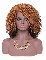 cheap -short kinky curly afro wigs for black women synthetic fluffy full wig for african american (ombre blonde)