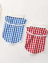 cheap -Dog Shirt / T-Shirt Plaid Basic Cute Casual / Daily Dog Clothes Puppy Clothes Dog Outfits Breathable Red Blue Costume for Girl and Boy Dog Cotton S M L XL XXL 3XL
