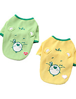 cheap -Dog Shirt / T-Shirt Bear Printed Fashion Cute Casual / Daily Winter Dog Clothes Puppy Clothes Dog Outfits Breathable Yellow Green Costume for Girl and Boy Dog Cotton S M L XL XXL 3XL