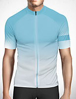 cheap -CAWANFLY Men's Short Sleeve Cycling Jersey Polyester Sky Blue+White Gradient Bike Jersey Top Mountain Bike MTB Road Bike Cycling Quick Dry Reflective Strips Sweat-wicking Sports Clothing Apparel