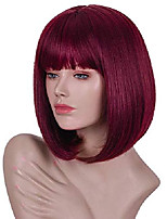 cheap -dark wine red short bob wig with bangs for black white women red wigs (99j)