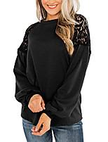 cheap -women's raglan lace top cotton lantern sleeve baggy elegant sweatshirt black m