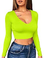 cheap -women's sexy bodycon basic v neck long sleeve slim crop top, neon green medium