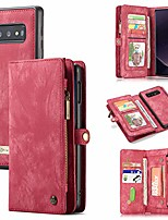 cheap -caseme for samsung galaxy s10 plus leather case, multi-functional flip folio zipper wallet leather case with card slots and magnetic back cover for samsung galaxy s10 plus 6.4'' (red)