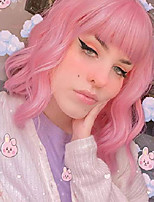 cheap -14 inches short bob wig with bangs pink synthetic wigs for women cosplay wavy pink wig heart resistant