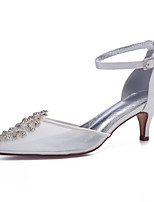 cheap -Women's Wedding Shoes High Heel Pointed Toe Wedding Party & Evening Satin Mesh Rhinestone White Ivory