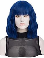 cheap -navy wig with bangs | qaccf short wavy shoulder length women full bang heat resistant wig (navy)