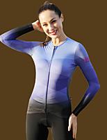cheap -21Grams Women's Long Sleeve Cycling Jersey Jacquard Blue Green Royal Blue Gradient Bike Jersey Top Mountain Bike MTB Road Bike Cycling Fleece Lining Warm Sweat-wicking Sports Clothing Apparel