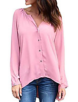 cheap -v neck shirt for women button down casual blouse long sleeve shirt pink xs