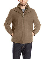 cheap -men's wool blend stand collar jacket with bib, toast heather, m