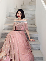 cheap -A-Line Elegant Empire Wedding Guest Prom Dress Off Shoulder Half Sleeve Floor Length Chiffon with Sequin Lace Insert 2020