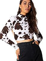 cheap -women's sexy backless mock neck long sleeve crop top t-shirt white medium