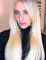 cheap -26 inches long straight blonde wigs for women synthetic wigs middle part heat resistant replacement wig colorful cosplay daily party wig (blonde wig)