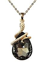 "cheap -18k gold plated water drop crystal lake blue zircon snake az6001p snake pendant necklace 16""+2"""