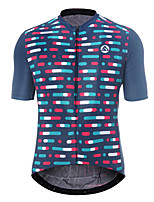 cheap -21Grams Men's Short Sleeve Cycling Jersey Polyester Blue Stripes Bike Jersey Top Mountain Bike MTB Road Bike Cycling Breathable Quick Dry Reflective Strips Sports Clothing Apparel / Stretchy
