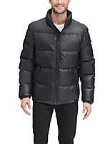 cheap -men's faux leather quilted ultra loft puffer jacket, black, large